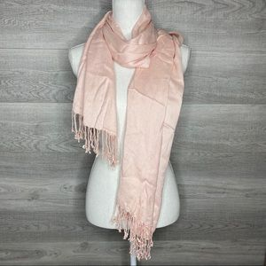 Soft Pink Scarf or Shall with Fringe Ends